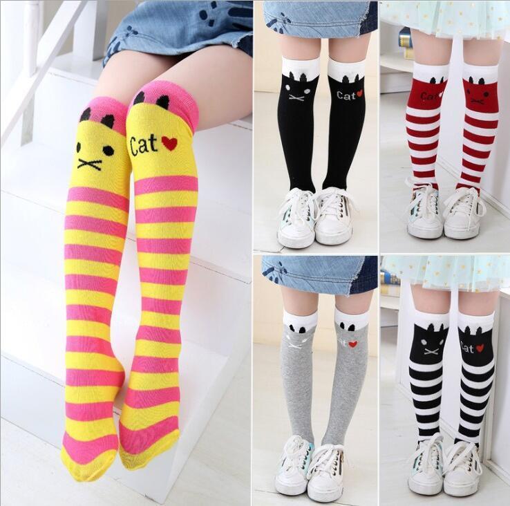 be9f5a653 Girls Socks Cotton Baby Girl Long Sock Cartoon Lovely Cat Knee High ...
