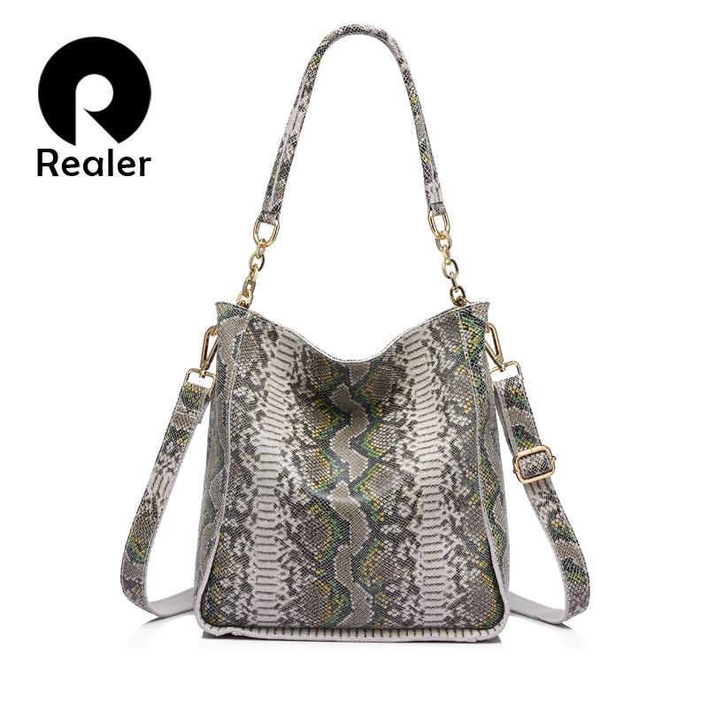 REALER brand new arrival genuine leather handbag women shoulder bag female serpentine prints tote bag ladies messenger bag Y190606