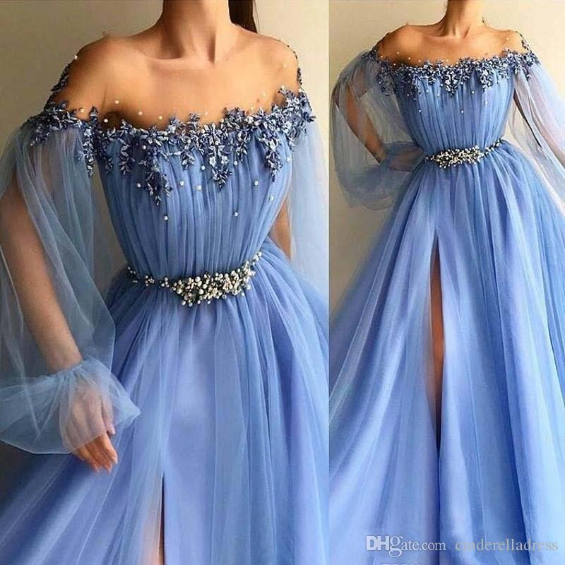 2019 Ocea Blue Long Prom Dresses A Line Off Shoulder Appliques Formal Pageant Holidays Wear Graduation Evening Party Gowns Plus Size