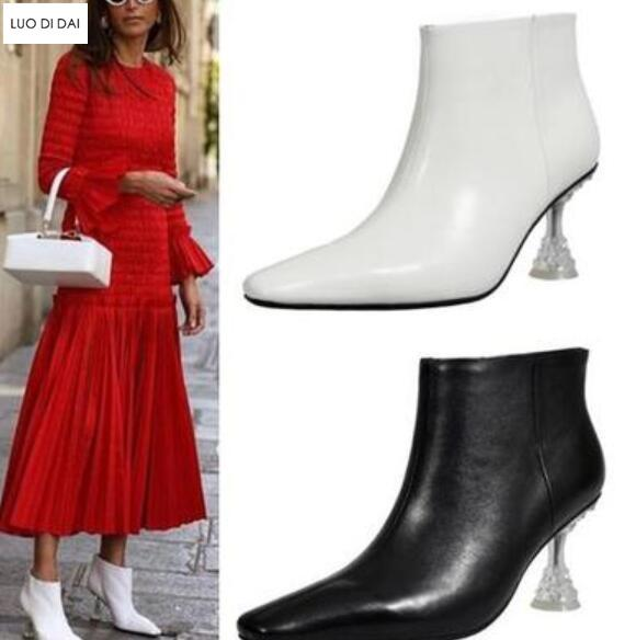 6121640a142 2019 new women ankle white boots women black leather booties ladies point  toe boots party shoes clear heel booties slip on lady