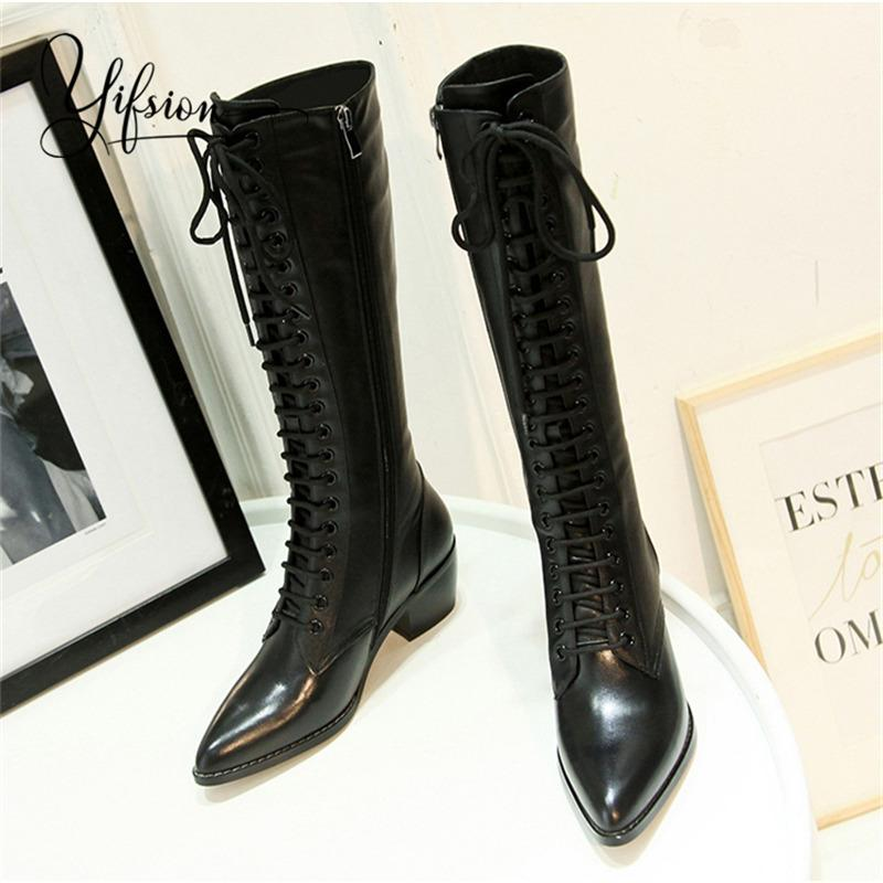 31b641b45b5 YIFSION New Fashion Black Red Gladiator Side Zip Women Knee High Boots  Pointed Toe Chunky Heel Women Winter Boots Shoes Woman