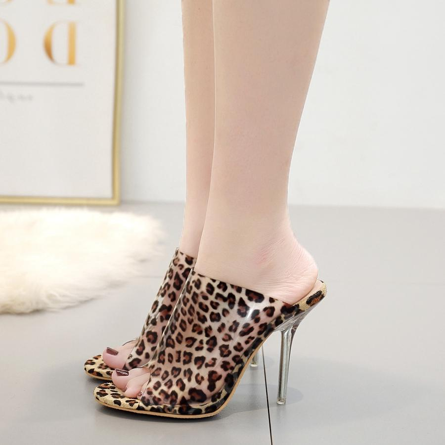f535b7978810 2019 Summer Slippers Transparent PVC Jelly Shoes Sexy Leopard Print High  Heels Party Ladies  Sandals Shoes Dress Shoes Wedge Shoes From Taylorst