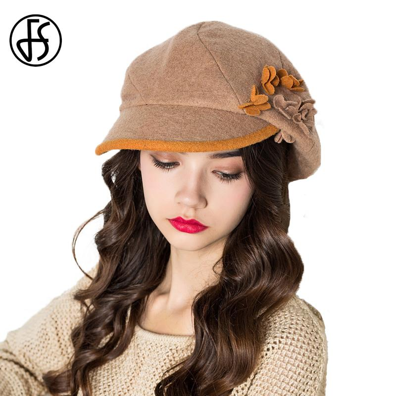 735fee3c31a08 Wholesale Fashion Wool French Beret Women Khaki Blue Orange Gray Autumn  Winter Flower Berets Hat Newsboy Cap Gatsby Tweed Hats Summer Hat Straw  Cowboy Hats ...