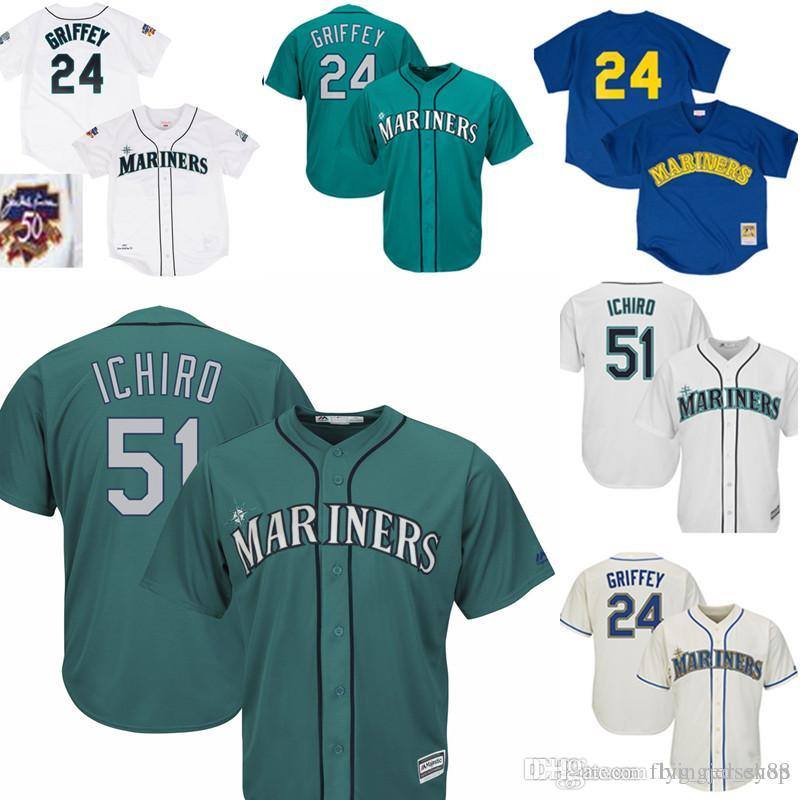 d1fd7865f5 2019 Green Mariners 51 Ichiro Suzuki Majestic Home Official Cool Base  Player Jersey White Embroidery Baseball Jerseys 24 Ken Griffey Jr. From  Big_red_shop, ...