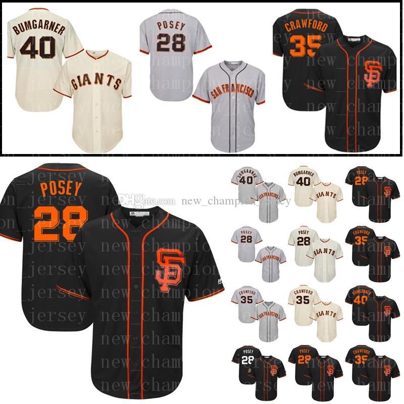 new arrival 915d1 608d3 Men's San Francisco Giants jersey 35 Brandon Crawford 40 Madison Bumgarner  #28 Baseball Jerseys Stitched Cheap Sale