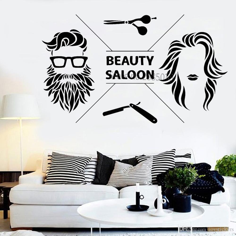 New design hair salon vinyl wall decal art beauty saloon barbershop stickers decor murals - Stickers salon design ...