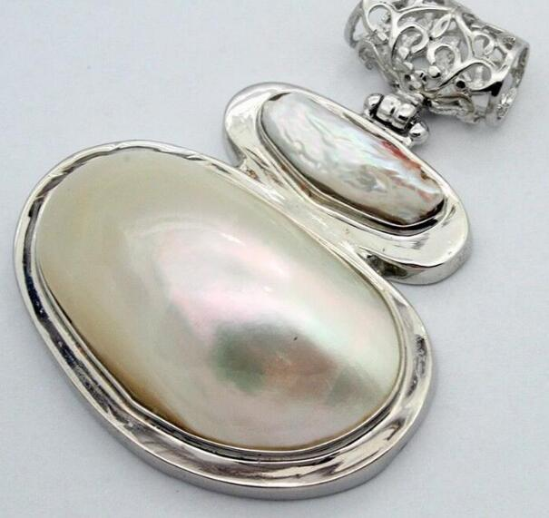 Jewelryr Pearl Pendant Fashion Rare Huge 60X47mm Natural White Mother of Pearl Shell Conch Pendant Envío gratis