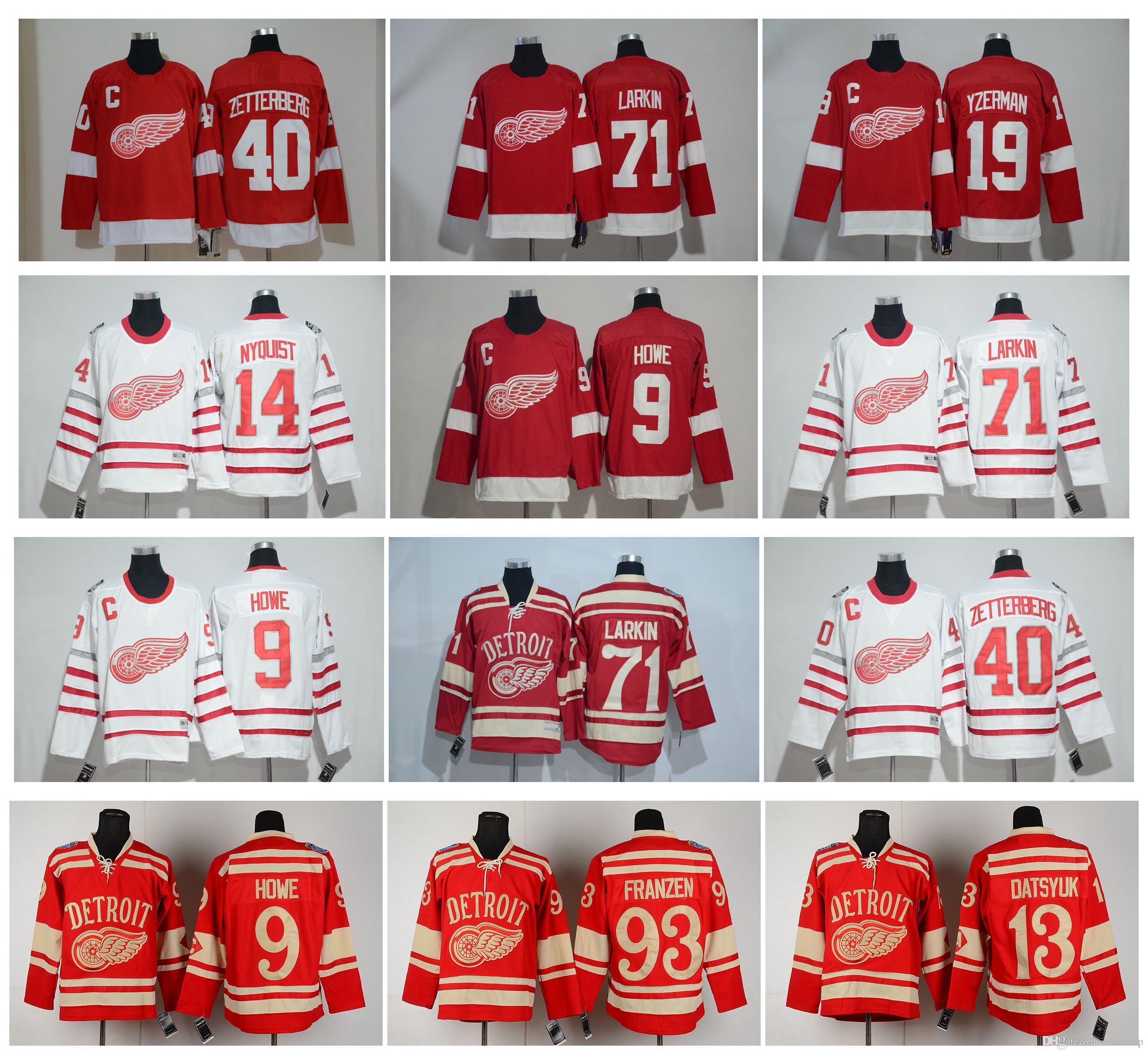 NHL Detroit Red Wings Jersey Tyler Bertuzzi Larkin Classic Pavel ... 1e5ef45ed