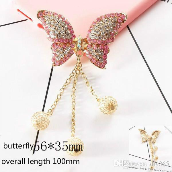 Wholesale Creative mobile phone shell accessories black eyes butterfly pearl fan tassel wooden pendant diy mobile phone accessories