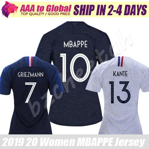 huge discount c2992 e8ca4 WOMEN MBAPPE jersey 2020 Maillot de foot French Female GIROUD GRIEZMANN  KANTE POGBA soccer jersey football shirts