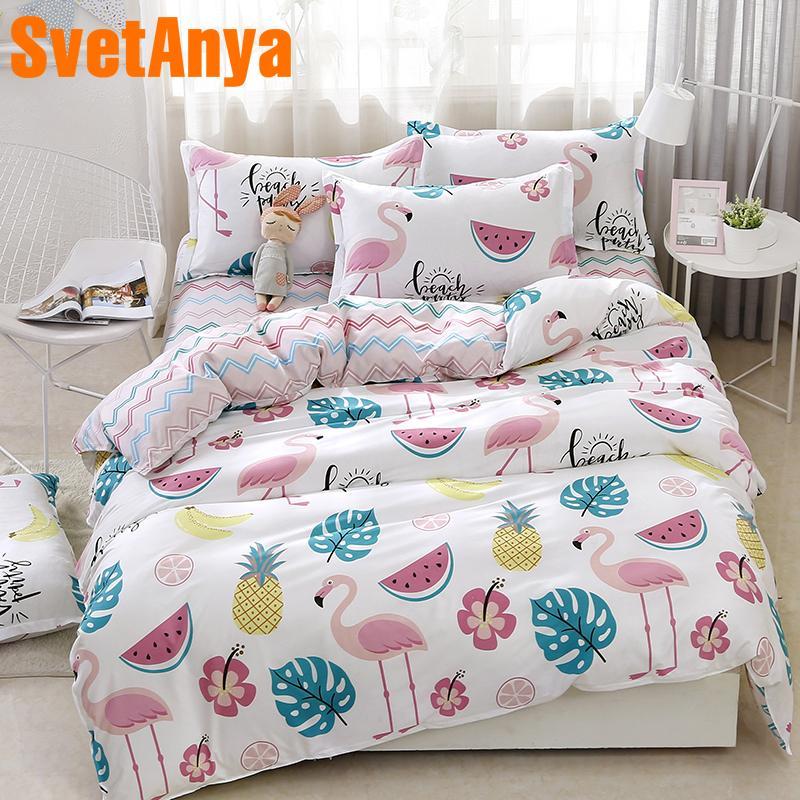 Svetanya Fashion Flamingo Sheet Pillowcase Duvet Cover Set China Cheap Bedding Set Single Double Bed Size