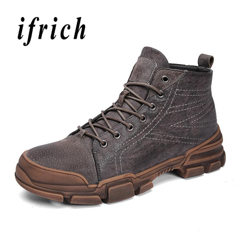 e5c5a2497 Compre Nuevo Invierno Hombre Botas Con Piel Caqui Marrón Martin Botas Para  Hombre Cómodo Piel Cálida Moda Juvenil Zapatos Para Hombre Cordones De  Nieve A ...