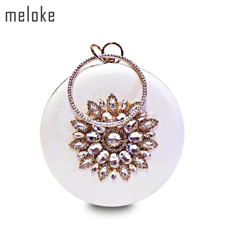 Meloke 2019 Round Shaped Evening Clutch Luxury Diamond Sunflowers Banquet Bags With Chain Clutch Purse For Ladies Mn759MX190824