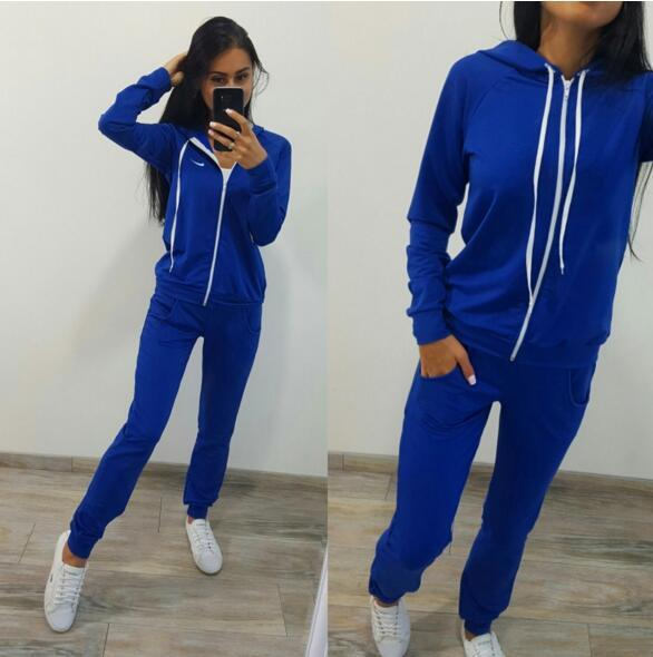 wholesale new Fashion printing solid color casual sports suit (long sleeve sweater + trousers)