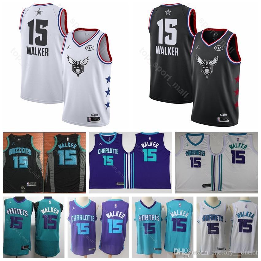 a915c8d17 Charlotte Basketball Hornets Kemba 15 Walker Jersey Men All 2019 ...