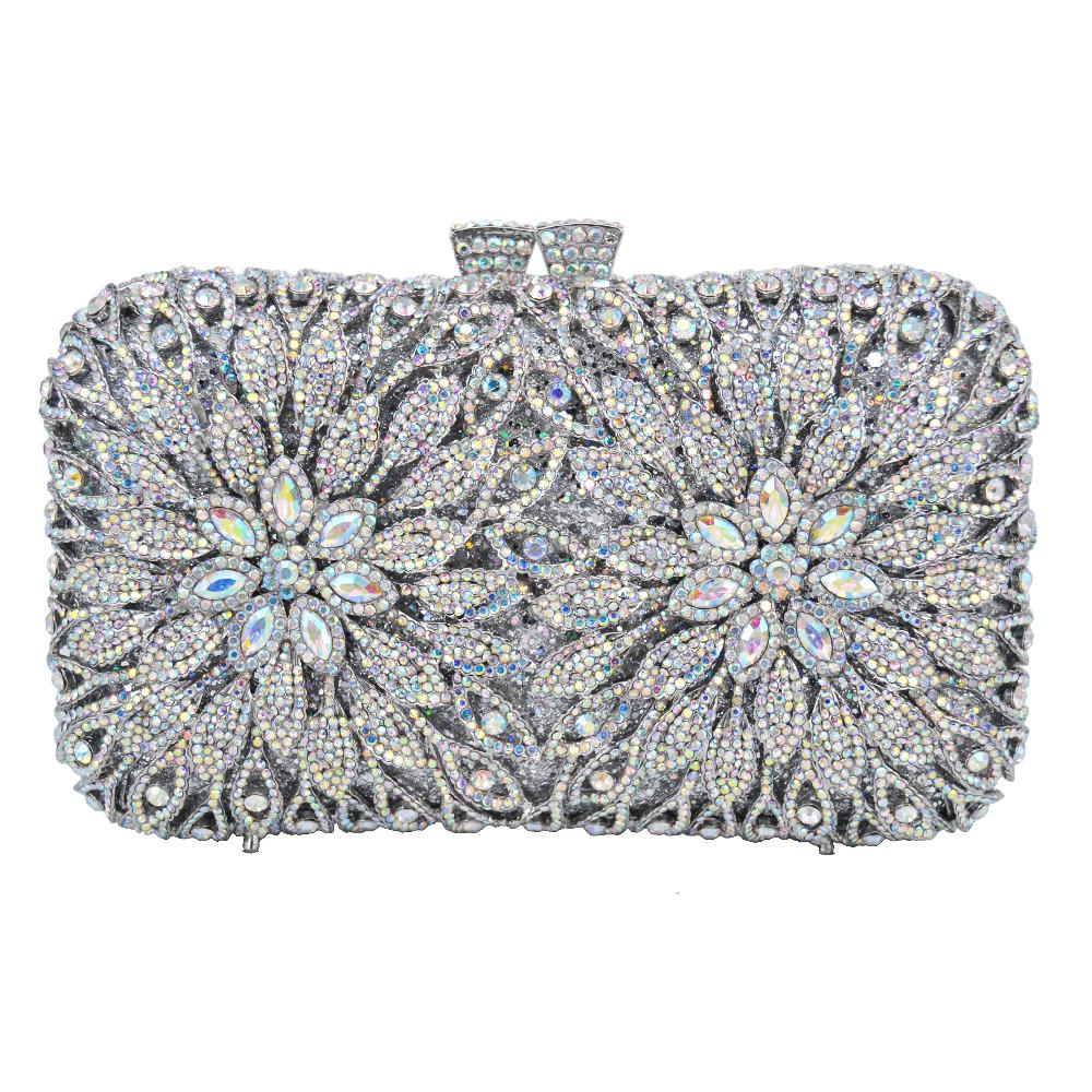 b1455ba257d AB Silver Dazzling Crystal Clutch Purse Wedding Bridal Evening Bags SC773  Clutches Cheap Clutches AB Silver Dazzling Crystal Clutch Purse Online with  ...