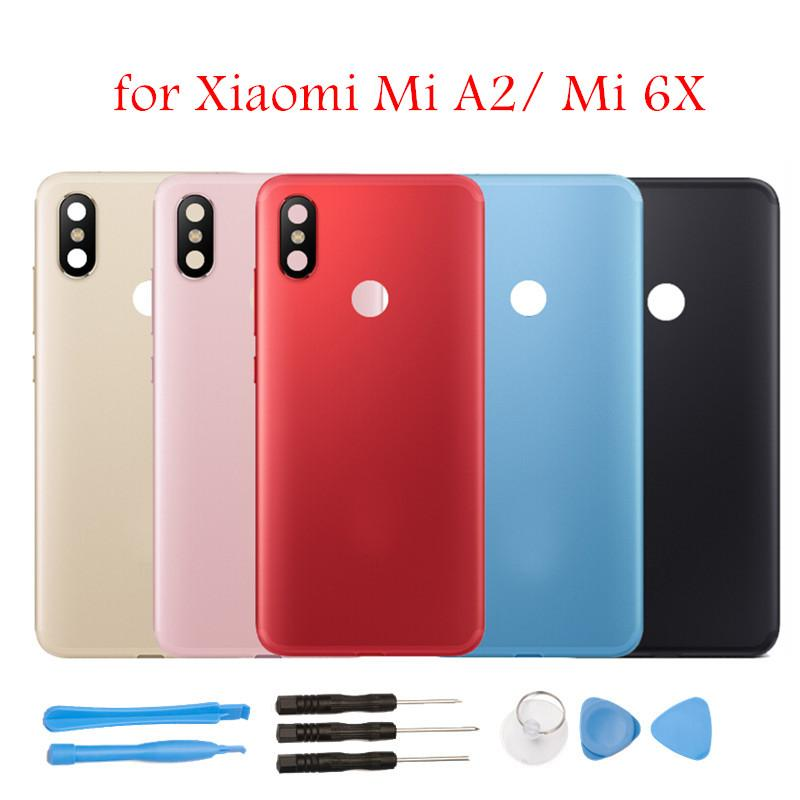 "5.99"" for Xiaomi Mi A2/ Mi 6X Battery Back Cover Rear Cover Housing Door Side Key Camera Glass Lens Spare Parts Repair Tools"