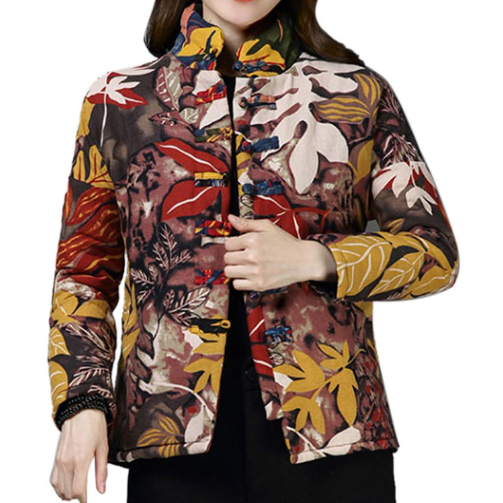 4eadd2623 2019 New Jackets Parka Women Folk-Custom Linen Print Cotton Buttons Short  Coat Parka Jacket Casual Windbreak Jackets Men