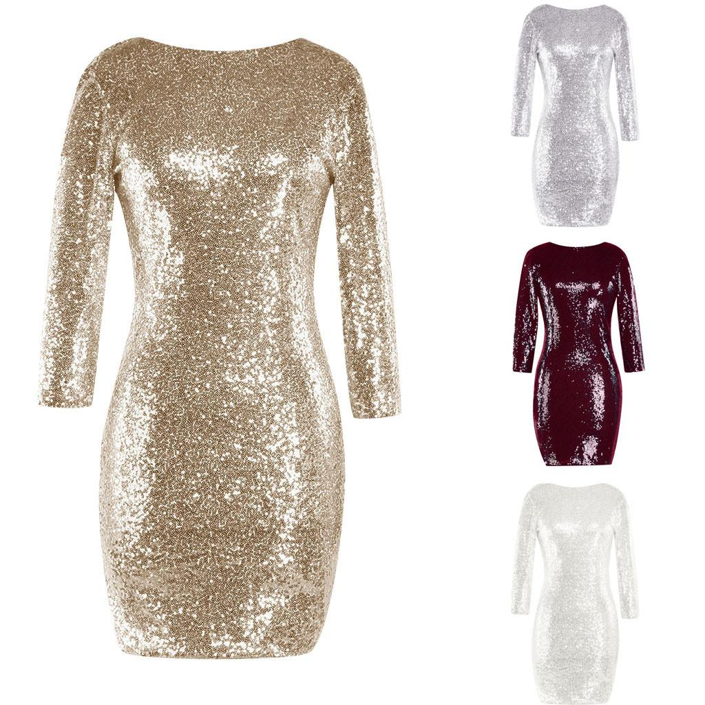 New Sexy Fashion Women S Sparkle Glitzy Glam Sequin Long Sleeve O Neck Flapper  Party Club Bodycon Slim Mini Dress For Female Pageant Dresses Dresses Uk  From ... 9b5d8be3085f