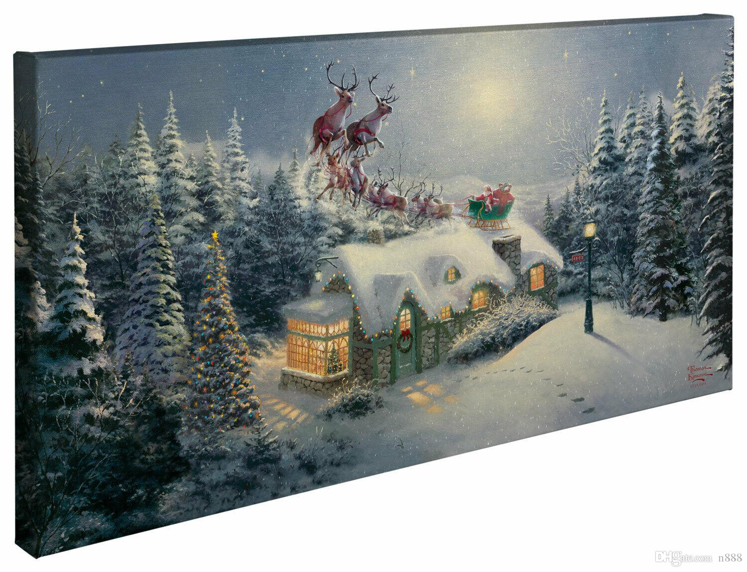 NEW Thomas Kinkade Christmas DASH AWAY ALL Home Wall Art Decor Oil Painting On Canvas Large Picture 190922