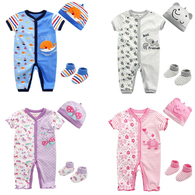 3PCS Baby Romper+Hat+Socks Clothing Sets Baby Girl Clothes Cotton Baby Boy Clothes Short Sleeve Girls Clothes Newborn