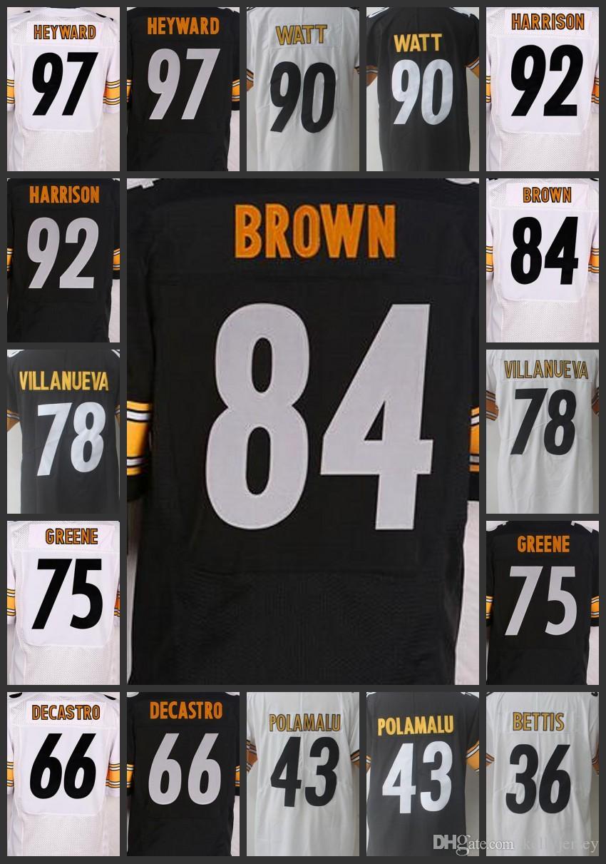 sports shoes 1aa38 c3987 Pittsburgh Men Steelers Limited Woman Jerseys #84 Antonio Brown 36 Jerome  Bettis 75 Joe Greene 78 Alejandro Villanueva Youth Jersey