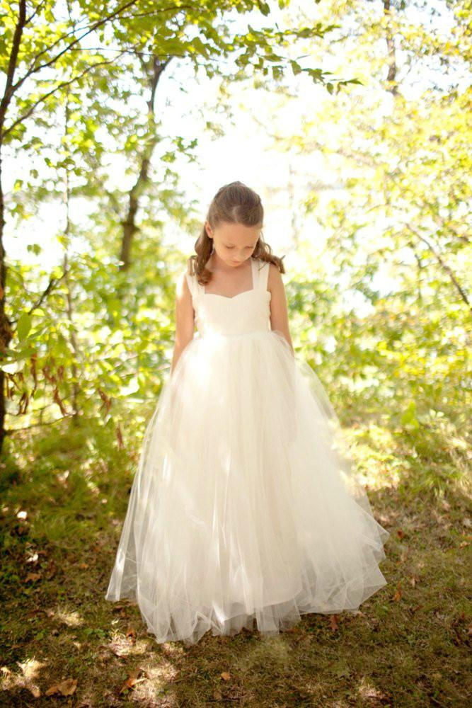 White Ivory Champagne Lace Flower Girl Dress Little Baby Bridesmaid Brithday Party Wedding Formal Occasion Dress Custom