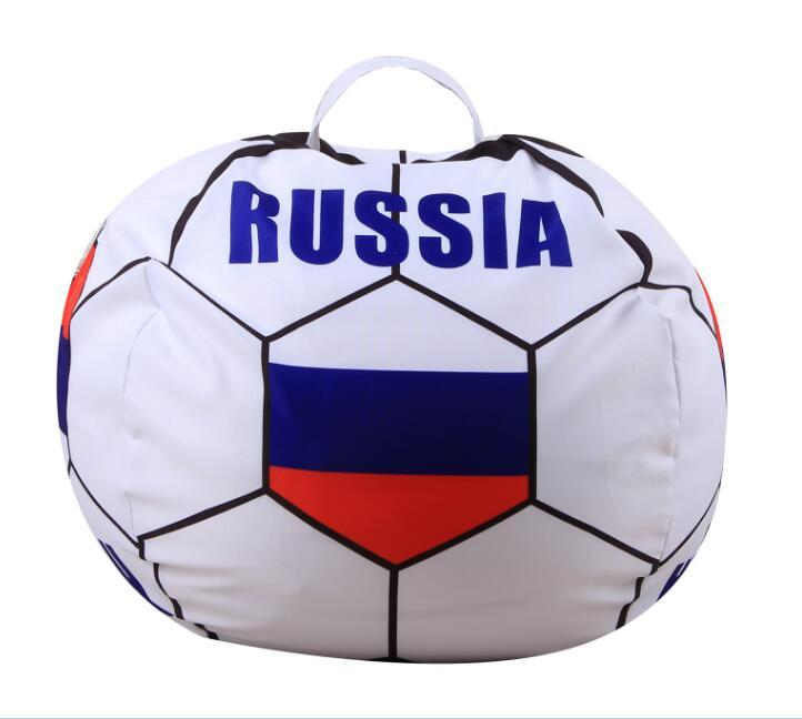 NEW Russia World Cup Storage Stuffed Bean Bag 26inch US Chair Portable Kids Toy Storage Bag Polyester Play Mat Clothes Home Organizer