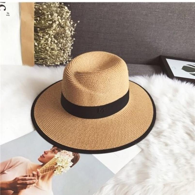 53e5915e 2019 New Female Sombreros Ribbon Round Jazz Hats Straw Beach Hat Lady  Summer Hat Women Snapback Gorras Panama Chapeau Femme Sun Hats Cheap Sun  Hats 2019 New ...