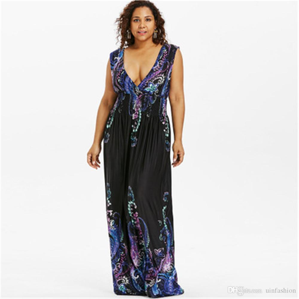 Summer V Neck Bohemian Plus Size Women Dress Casual Beach Maxi Dress Big Size 5XL Elegant Party Dress