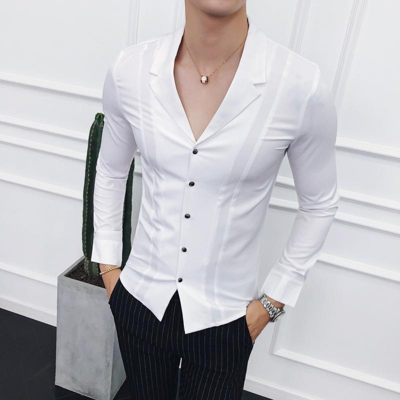 Ropa De Hombre Trajes De Cuello 2018 Camisas Para Hombre Camisas Blancas Para Hombre Disenador Negro Camisa Social Masculina Social Slim Fit Gomlek