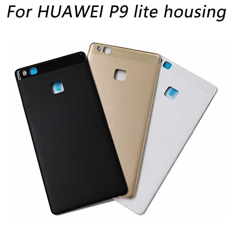 more photos 5457b c11a5 1pcs back cover case for huawei p9 lite back housing Battery door with Back  Camera Glass