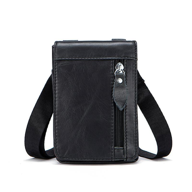 2018 Business Men Messenger Shoulder Bags Real Genuine Leather Small ... e5fe839ce00ef