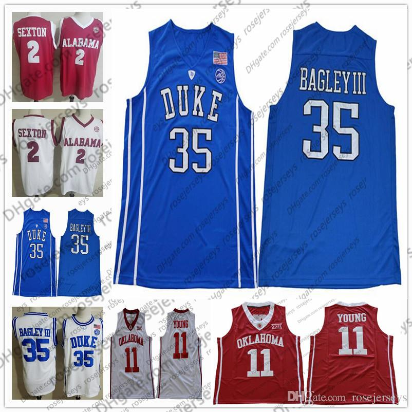 2019 2019 Cheap Lowest Price Duke Blue Devils  35 Marvin Bagley III Royal  Adult Jersey Oklahoma Sooners  11 Trae Young White Mens Shirt S 3XL From ... 49b157da1