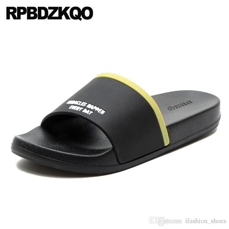 2c6eb17afe587b Black Soft Waterproof Slides Slippers Large Size Fashion Shoes Water Rubber  Men Mens Sandals 2018 Summer Outdoor Slip On 45 Flat  56998 Tan Wedges  Fringe ...