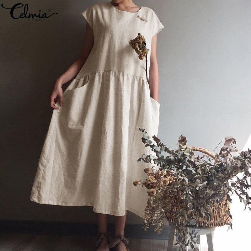 fc2aa113bf5cc Celmia Women Retro Maxi Long Dress 2019 Summer Plus Size Beach Sundress  Casual Short Sleeve Pleat Shirt Vestidos Mujer Plus Size