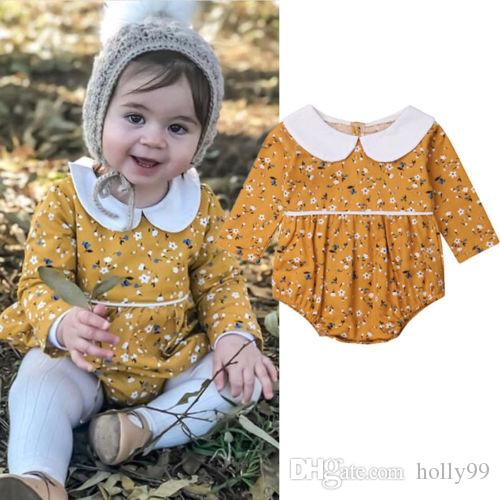 aea4062da 2019 Newborn Infant Baby Girl Rompers Vintage Peter Pan Collar Long Sleeve Baby  Girls Romper Jumpsuit Flower Baby Clothing From Holly99, $9.85 | DHgate.Com