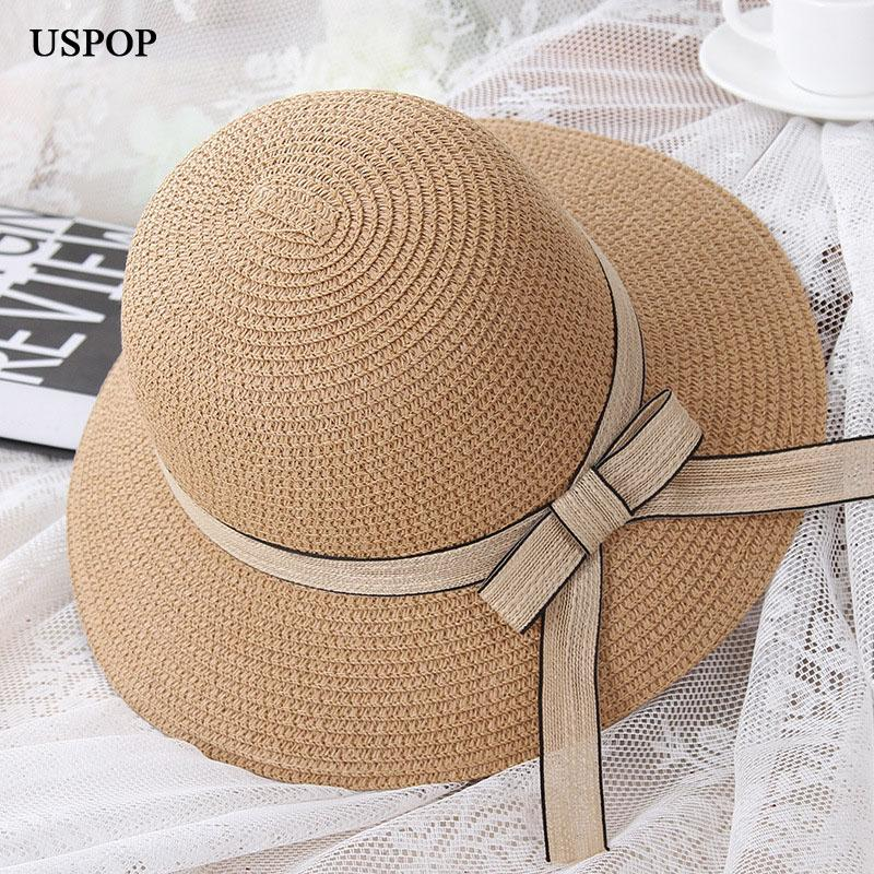 3eabec31 Wholesale 2018 HOT Fashion Woman Summer Hats Female Straw Hat Casual  Mom-kid Wide Brim Beach Hat Cute Children Bowknot Sun Hats Online with  $24.38/Piece on ...