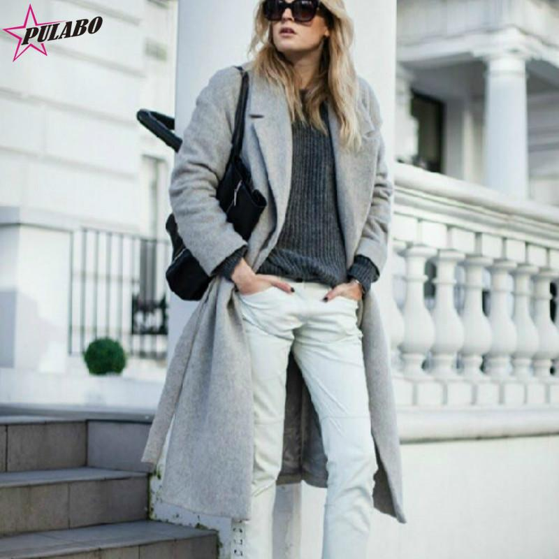 2e2e560daa6 2019 Winter Women S Wool Blend Long Coat 2019 New Hollywood Warm X Long  Oversize Cashmere Turn Down Collar Outwear Coats Grey Trench From Elseeing