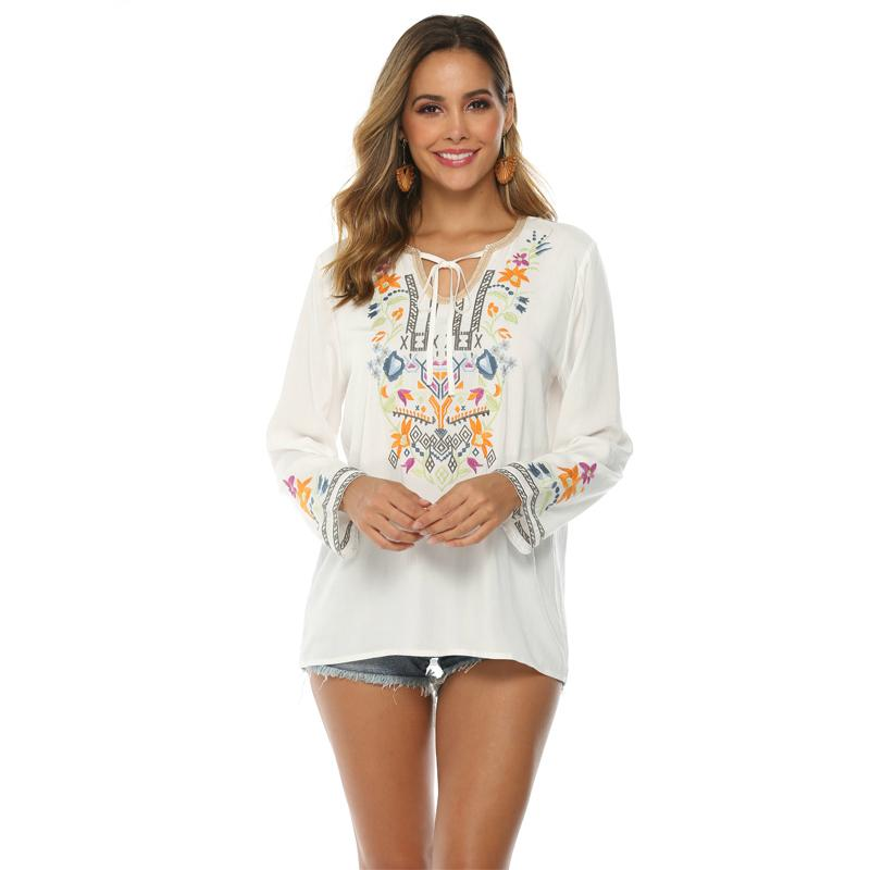 Autumn New Fashion Women Floral Embroidered Mexican Blouses Lace-up V-neck Long Sleeve Casual Bohomian Blouse Shirts