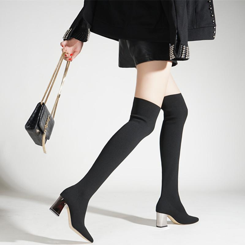 e89e32bc7d New Knitting Women Long Boots Pointed Toe Stretch Over Knee Sock Boots Cat Boots  Shoe Sale From Clownie, $57.55| DHgate.Com