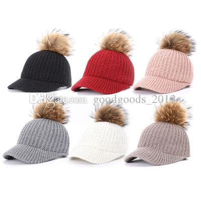 3c0acc9c0aed6 2019 New Real Fur Pom Pom Cap Autumn Winter Hats For Women Breathable Adjustable  Baseball Cap With Raccoon Fur Pom Poms Ball Female Cap Bone Vintage ...