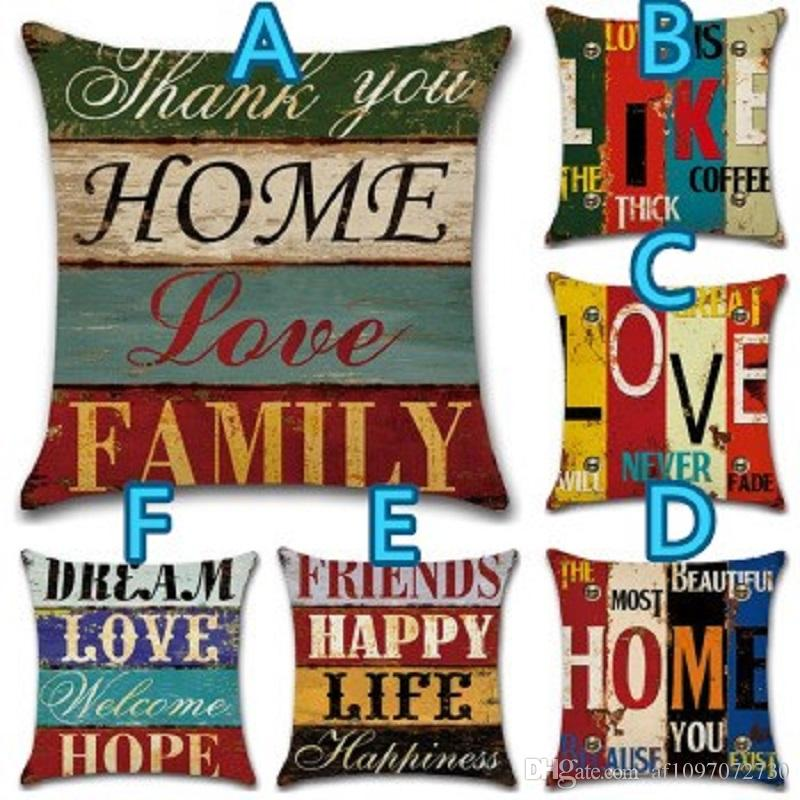 Fashion Pillow Case 45*45 Pillow Cases Hand Painting Letters Print Polyester Sofa Car Cushion Cover Home Wholesale Dropshipping Cushion Cover
