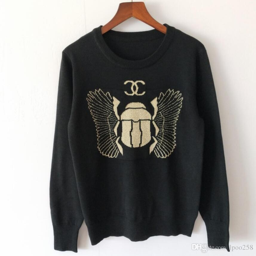 Women's Knits & Tees Autumn 2019 New Jacquard Beetle Pattern Round-necked Long-sleeved Sleeve Black Sweater Woman Knitted Top