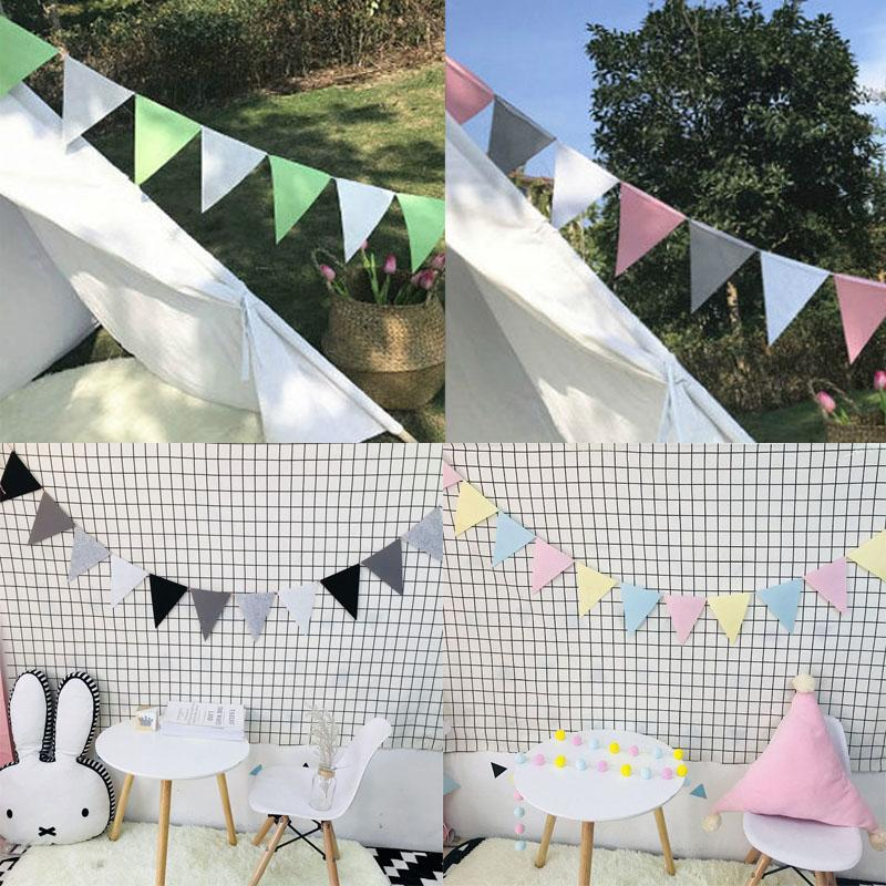 Fashion Colorful Kids Room Bunting Decor Baby 12 Flags 2.5M Birthday Party Pennant 1 Pack Nonwovens Wedding Home Decoration