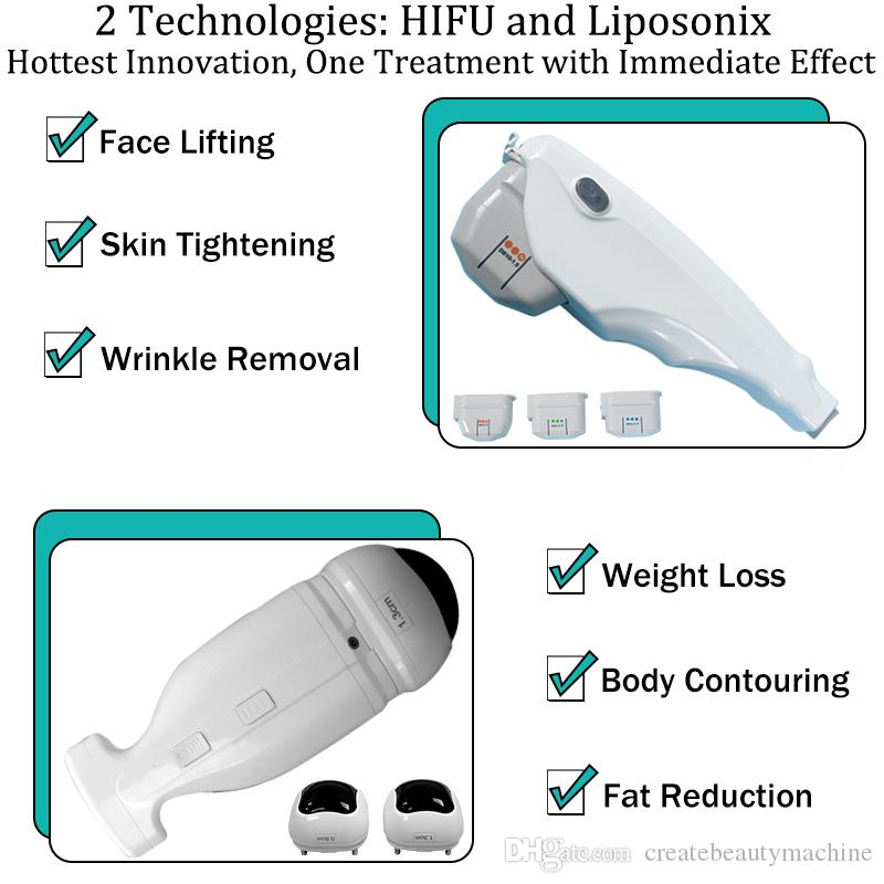 Liposonix cuerpo adelgazante máquina de reducción de grasa HIFU antienvejecimiento eliminación de arrugas 2 en 1 Hifu Liposonix belleza equipo