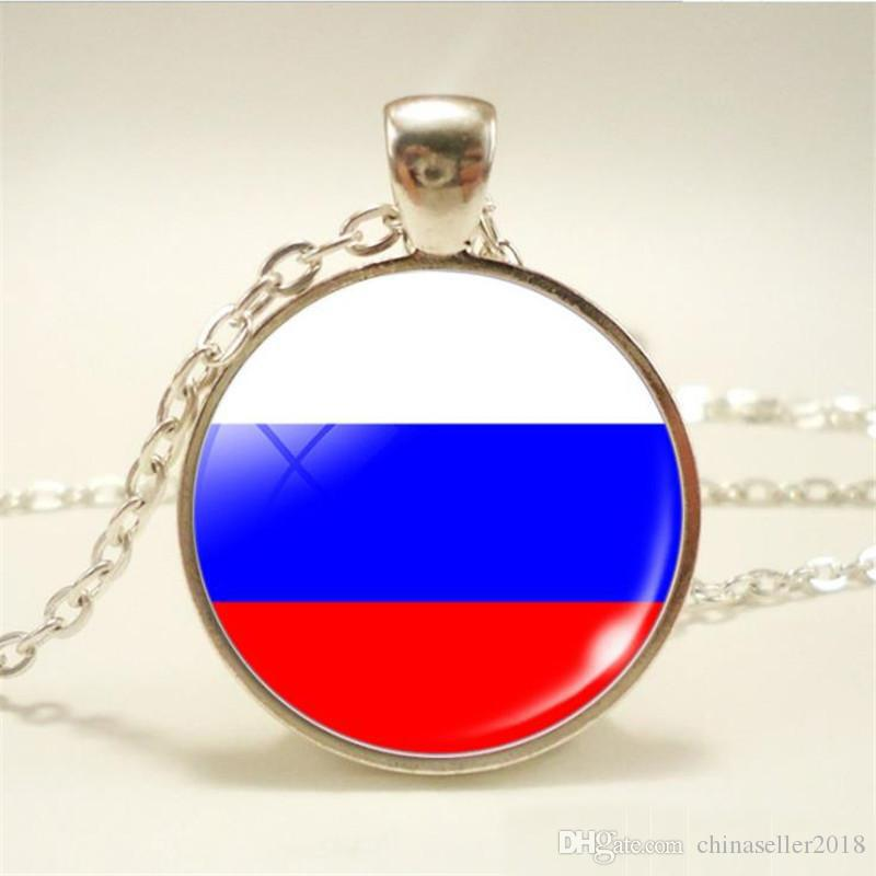 New Russia National Flag World Time Gem Glass Cabochon Choker Necklace Long Link Sweater Chain Pendants Jewelry for Women Men Girls Boy