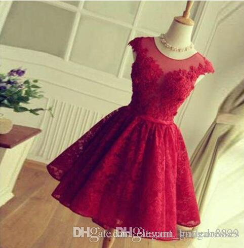 A-line round Sheer Neck Short Red Lace Prom Dress Sleeveless Bridesmaid Dress Simple Knee Length Hollow Back with Lace-up Homecoming Dresses