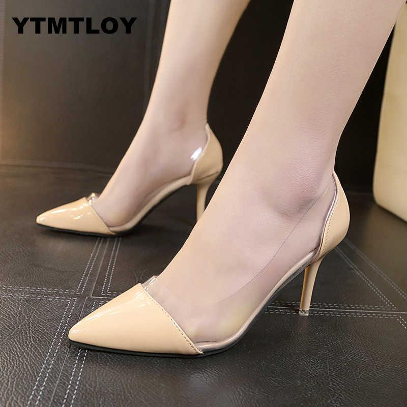dc802a9d8b Shoes 2019 Latest Fashion Women Thin High Heels Luxury Brand Exclusive  Leather And Pvc Pointed Toe Pumps Dress Zapatos Mujer 8cm
