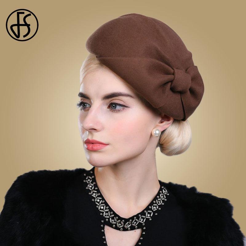 424b9185d8f4 FS Mujeres Beret Sombrero de Lana Elegante Fieltro Bowler Cap Novia Fedora  Sombrero Negro Rojo Marrón Señoras Arco Fiesta Boda Vintage Cloche ...